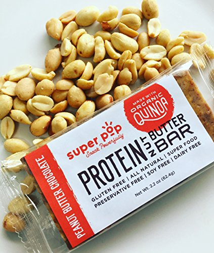 Super Pop Snacks, GLUTEN, SOY & DAIRY FREE, Plant Based Peanut Butter Chocolate Protein Nut Butter Bar— 12 Pack by Super Pop Snacks