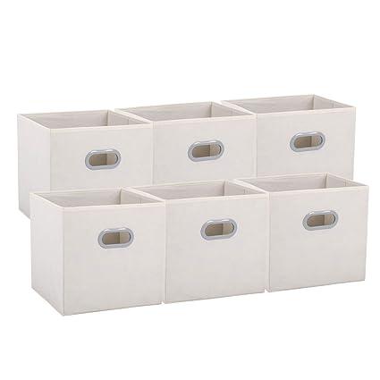 Caja de Almacenaje de Tela Cubo Caja Plegable Cajón Organizador Plegablecon 2 Asas para