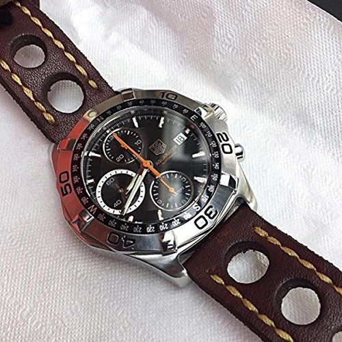 Custom 21mm Handmade Premium Calf Leather Watch Band Gunny Straps - Le mans racer
