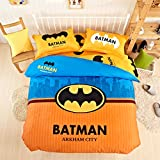 CASA Children 100% cotton series Batman duvet cover & pillow cases & Fitted Sheet,4 Pieces,Queen