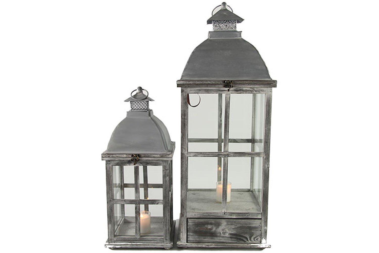 negozio outlet Set di 2 lanterne lanterne lanterne Haeli in legno grigio diverse dimensioni 21x21x51cm e 29x29x78cm  nuovo stile