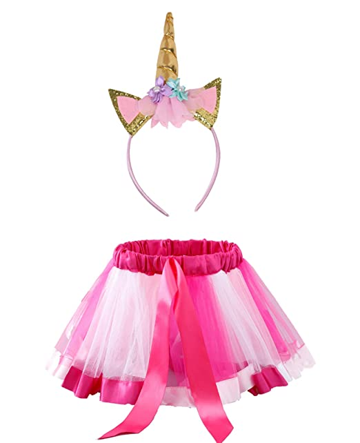 KASTE Rainbow Tutu Skirt Layered Ballet Tulle Little Girls Dress up Colorful Hair Headband for Toddler Girls(3-7years)