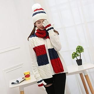 Hat Scarf Gloves Three-Piece Suit Warm Plus Velvet Hat Ladies, Pink