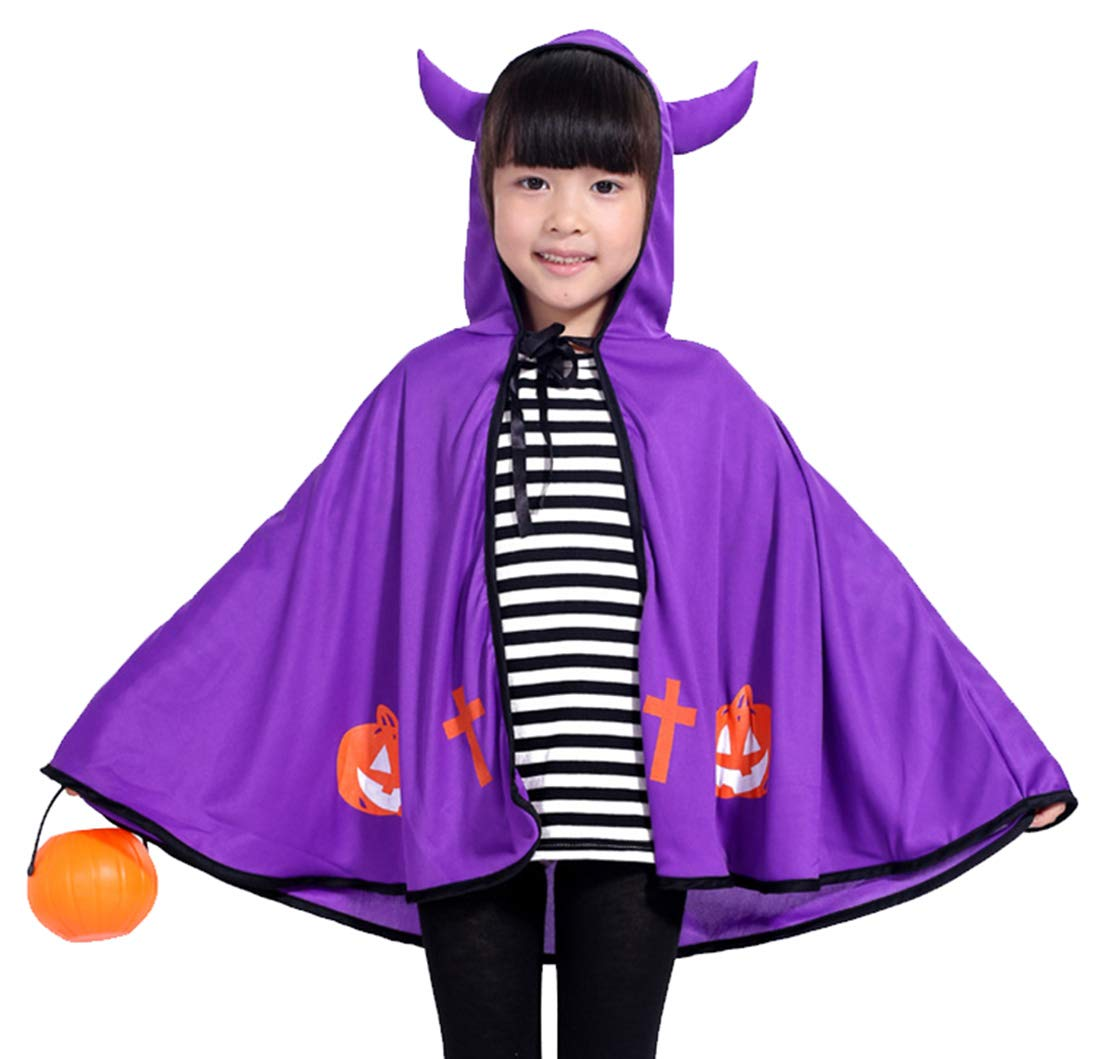 Kids Halloween Witch Cosplay Cape Hooded Dress-up Cloak Performance Poncho Shawl Dress - Purple