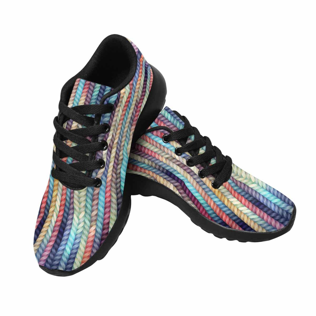 InterestPrint Womens Running Shoes Colorful Stripe Pattern Print for Laides Outdoor Sneakers