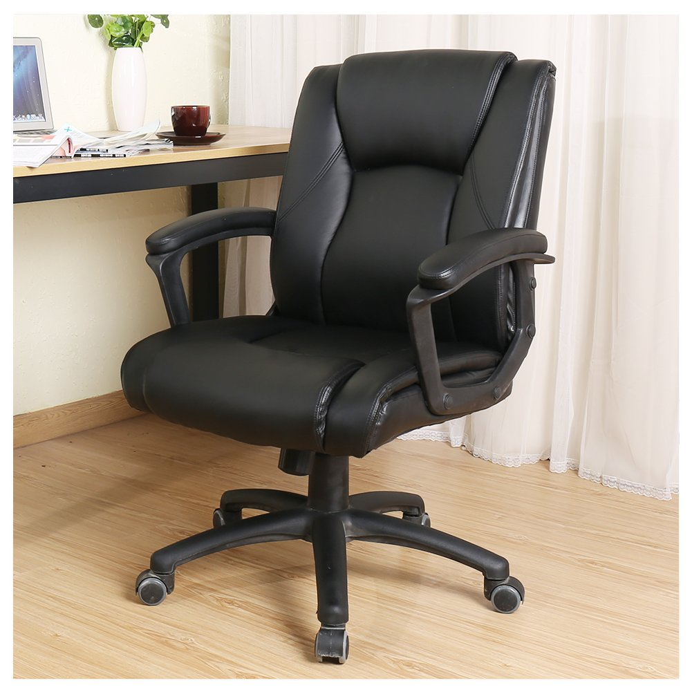 Veigar Ergonomic PU Leather Mid Back Executive Office Chair with Adjustable Height, Desk Chair Task Chair Swivel Chair (Black)