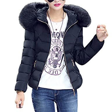 Womens Hooded Parka Jacket Down Coat Faux Fur Quilted Padded Short ...