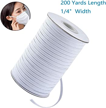 Mask 200Yard 200 Yards Length 1//4 Inch Width Elastic Band White Briaded Knit Elastic String Cord Heavy Stretch Elastic Band for Sewing Craft DIY , White 1//4 inch