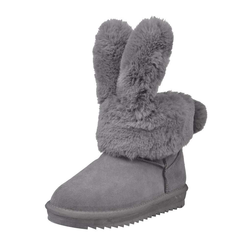 ZODOF Elegantes Orejas de Conejo Plegables Botas de Invierno para Mujer Zapatos cá lidos Botas para la Nieve con Tobillo de Felpa