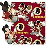 2 Piece NFL Redskins Throw Blanket Full Set With Disney Mickey Mouse Character Shaped Pillow, Sports