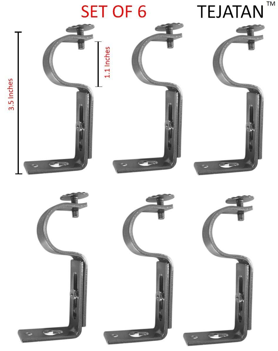 Black Set of 6 Also Known as - Curt TEJATAN Adjustable Curtain Rod Brackets