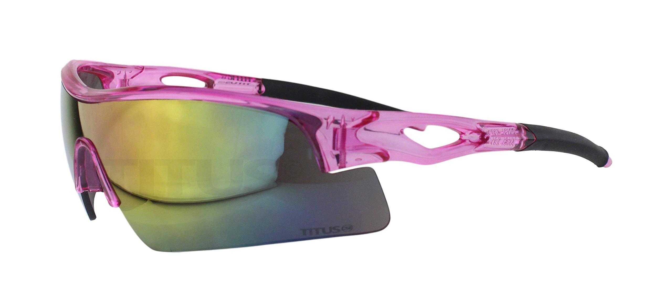 Titus All-Sports Frame Safety Glasses (with Pouch, Pink Frame - Mirrored Lens) by Titus