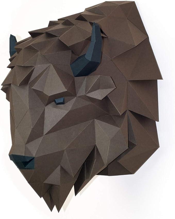 Amazon.com: Paperraz DIY 3D Bison Head Animal PaperCraft Building Kit Wall Mount - NO Scissors: Toys & Games