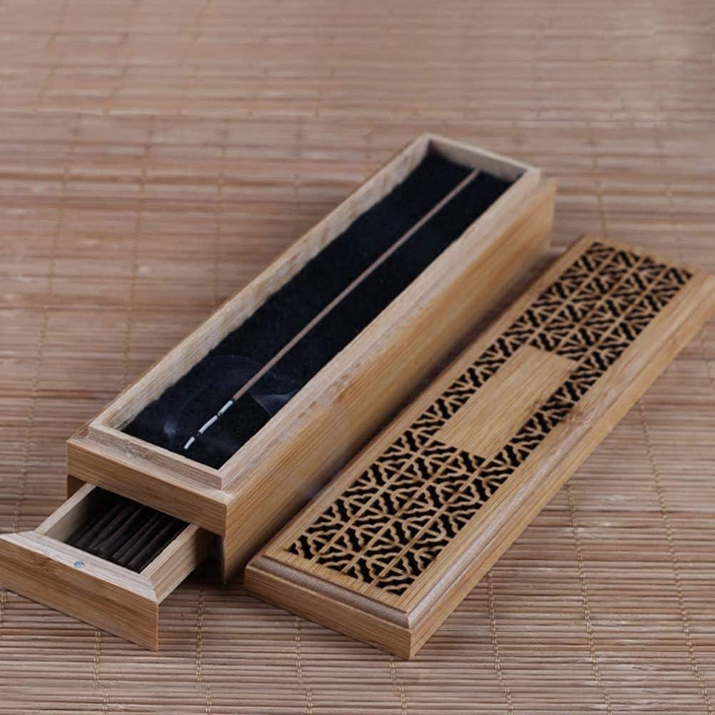 Mayco Bell Quemador de Incienso de bambú con cajón Joss-Stick Caja Hueca aromaterapia Zen Lying Censer Home Office Teahouse
