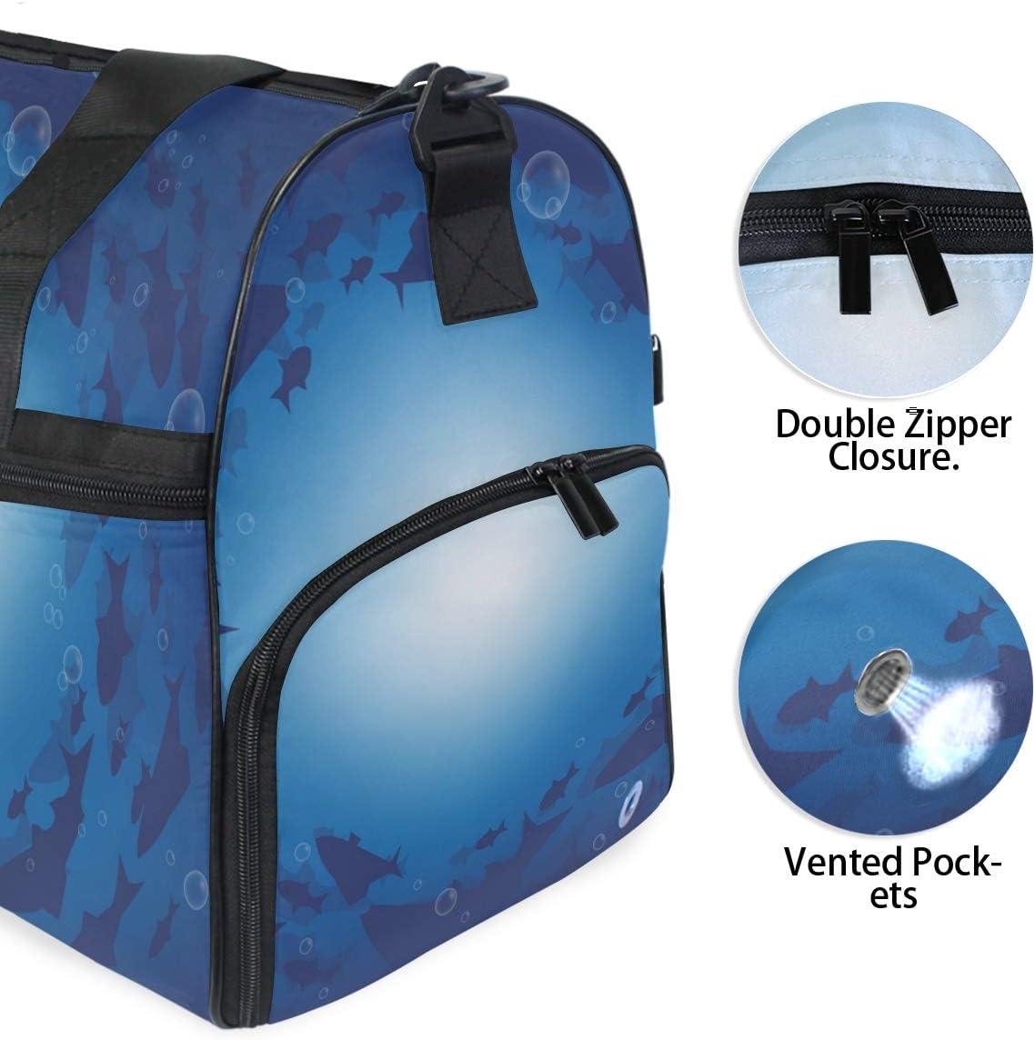 FANTAZIO Barracuda Fish Underwater Sports Duffle Bag Gym Bag Travel Duffel with Adjustable Strap