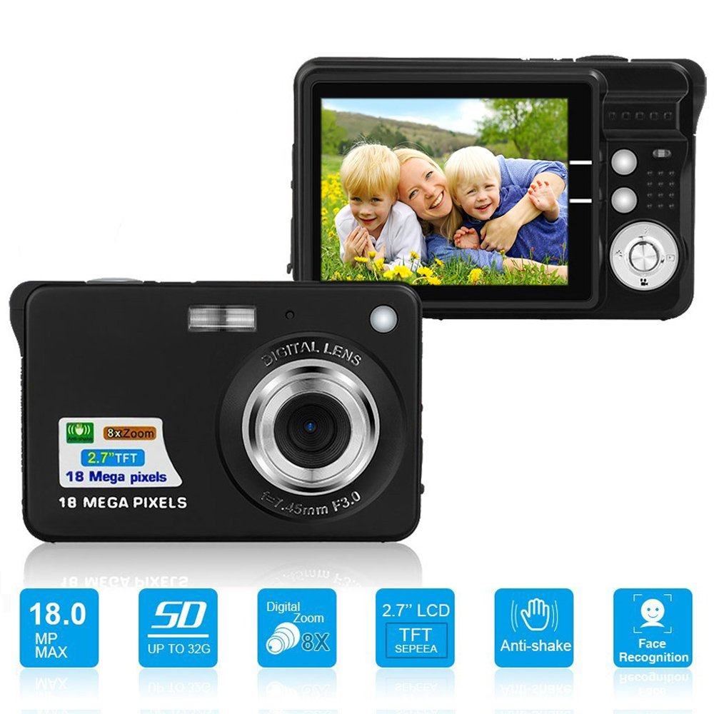 HD Mini Digital Camera with 2.7 Inch TFT LCD Display, Digital Video Camera Black- Sports,Travel,Camping,Birthday (Black)