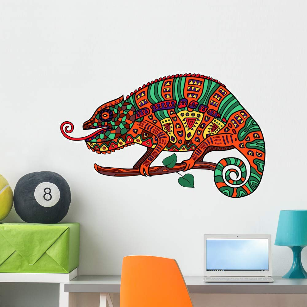 Wallmonkeys Colorful Chameleon Wall Decal Peel and Stick Animal Graphics WM502571 48 in W x 37 in H