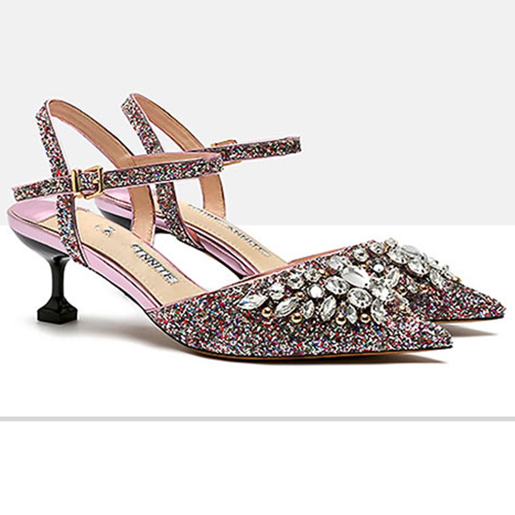 Ren Chang Jia Shi Pin Firm Sandals Girls Shoes Sandals Summer Crystal Sequins Empty Female Sandals High Heels Crystal Shoes Heel Height 8cm