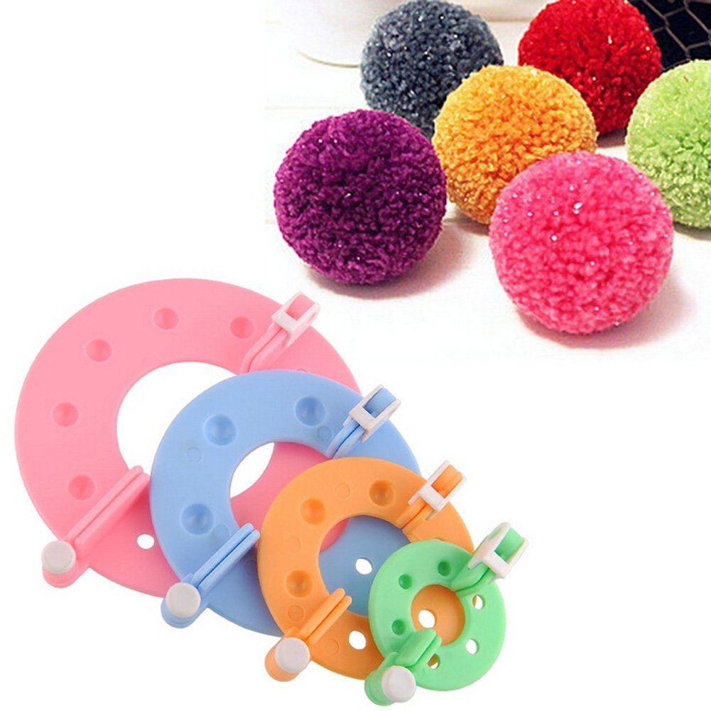 Zetti 4Size/Set Pompom Maker Fluff Ball Bobble Weaver Needle Craft Knitting Wool Tool Kit DIY 4336906278