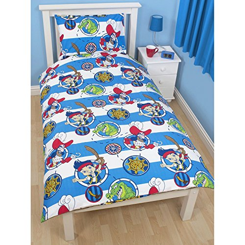 Disney Childrens Jake & The Never Land Pirates Doubloons Duvet Cover Bedding Set (Twin) (Blue/White)