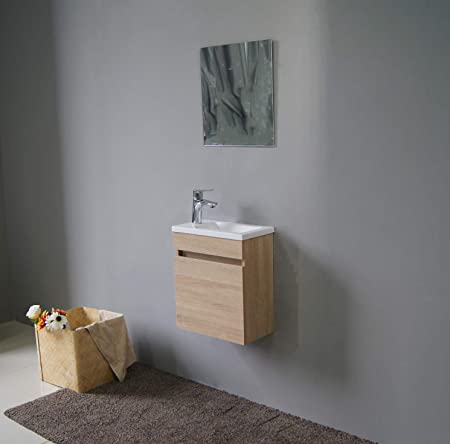 Starbath Plus Ensemble Petite Meuble Salle Bain Mdf Vasque Resine Miroir 40 X 22 Cm Marron Clair Amazon Fr Bricolage