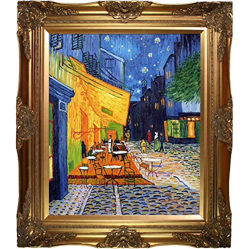 Van Gogh Cafe Terrace at Night with Victorian Gold Frame Oil Painting, Gold Finish