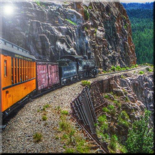 Rikki Knight 6 x 6 Train on Mountainside Design Ceramic Art Tile