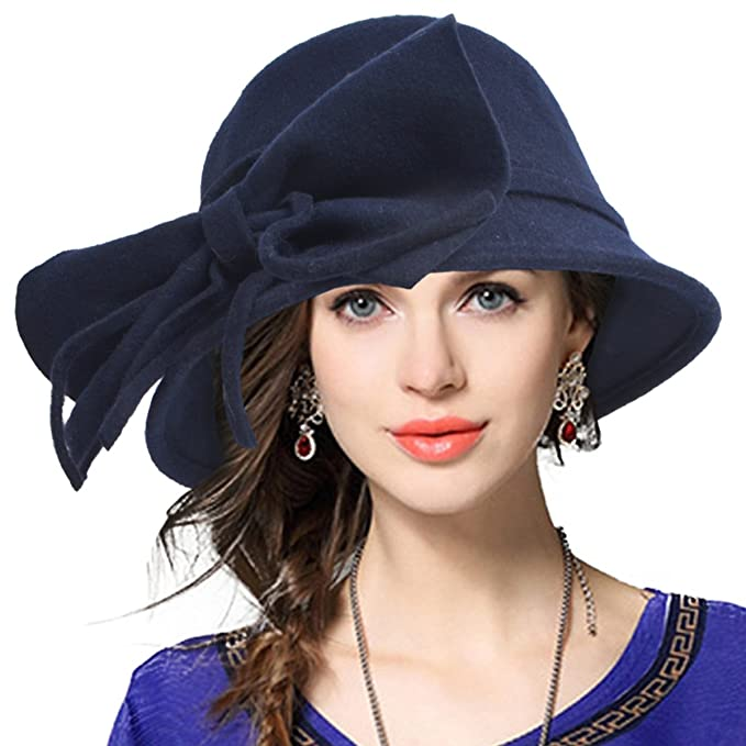 Edwardian Style Hats, Titanic Hats, Derby Hats Womens 100% Wool Bucket Hat Felt Cloche Bow Dress Winter Hats $21.99 AT vintagedancer.com