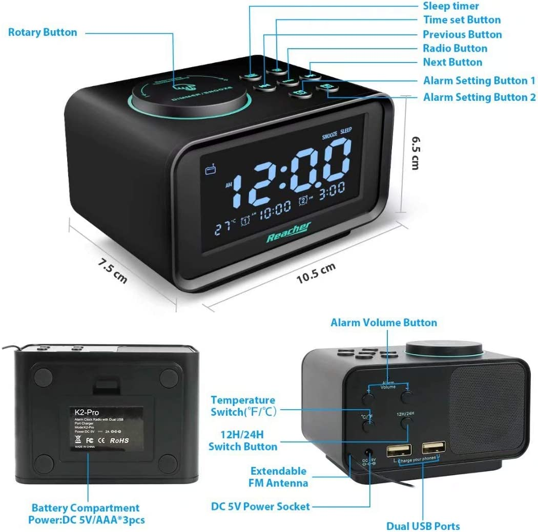 Reacher Digital Clock Radio with Dual Alarms Bedside Clock with Dimmable LCD Display Snooze Dual USB Ports for Smart Phones and Tablets Charging Battery Mains Powered Black