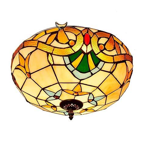 Luz de techo estilo Tiffany, lámpara de techo de vidrio de ...