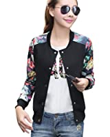 Womens Casual Slim Fit Round Neck Floral Print Baseball Bomber Jacket