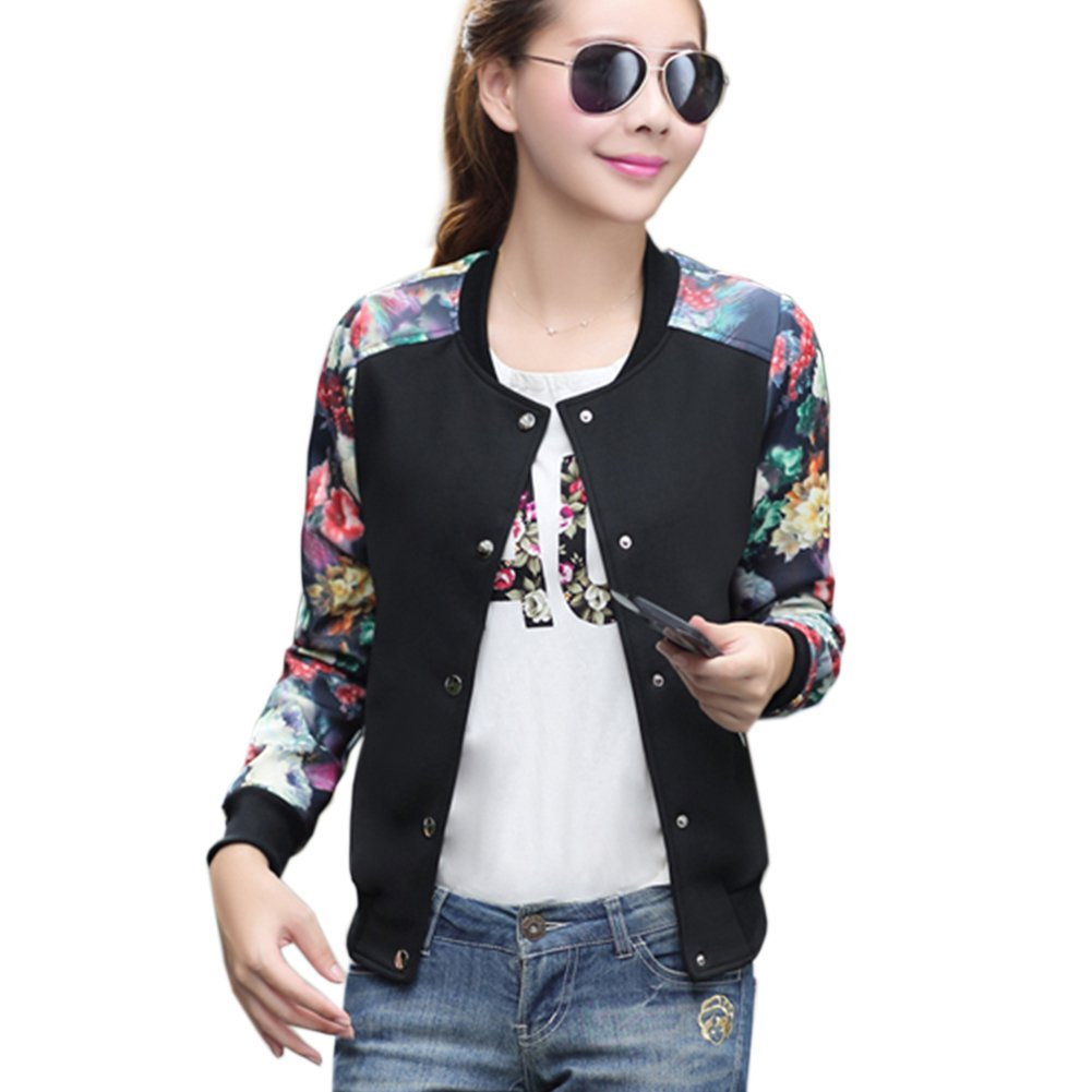 Hellomamma Women's Slim Fit Floral Print Baseball Bomber Jacket Black S