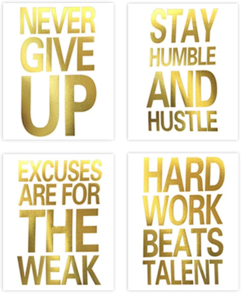 Inspirational Quotes Never Give Up Gold Foil Print, Motivational Word Cardstock Art Painting Minimalist Lettering Home Wall Art Poster Decor ( 8 X 10 inch, set of 4, Unframed )
