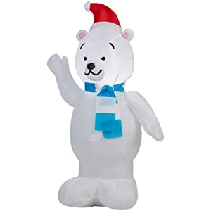 Gemmy airblown inflatables fiber snowman family scene for Animated polar bear christmas decoration