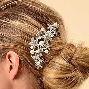starfish wedding prom bridal crystal hairpiece