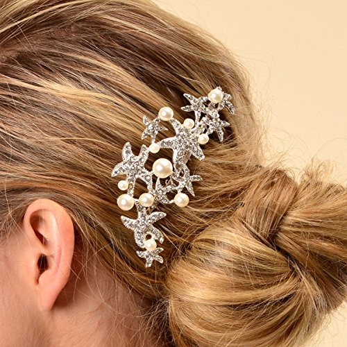 starfish wedding prom bridal crystal hairpiece