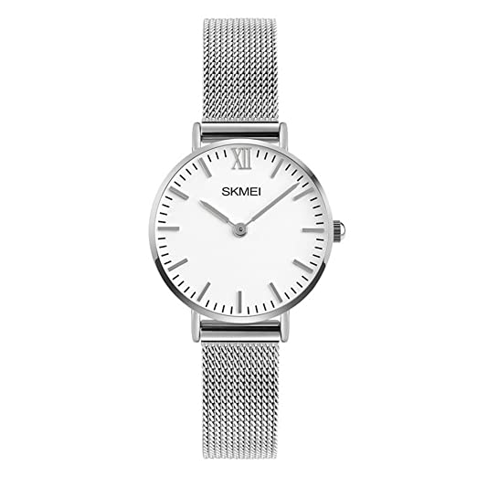 Moda Simple Relojes para Hombre Mujer - Correa de Aleación Ultra-Delgado Dos Punteros Relojes de Pulsera para Señores Señoras, Plateado-Mujer Pequeña: ...
