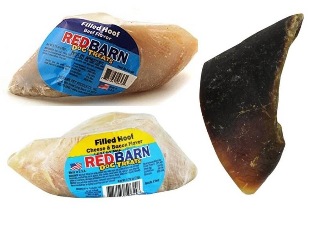 RedBarn Filled Hooves 3 Flavor Variety Bundle: (1) RedBarn Peanut Butter Flavor Filled Hoof, (1) RedBarn Cheese & Bacon Flavor Filled Hoof, and (1) RedBarn Beefy Flavor Filled Hoof, 1.8 Oz. Ea. (3 Hooves Total)