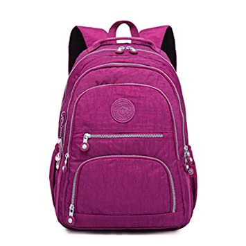 Amazon.com | Female Backpack Women School Teenage Girls Mochila Feminina Laptop Bagpacks Travel Bags Casual purple red 27CMX13CMX37CM 1368 | Backpacks