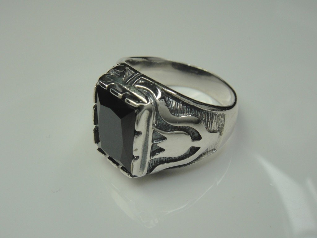 TheBikerMetal 925 Sterling Silver Ring w Black Agate for 81 Outlaw Harley Rider Motor SR-25 (10)
