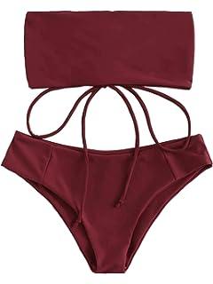 1012387e97c SweatyRocks Women's Bathing Suit Lace Up Bandeau Bikini Set Two Piece  Swimsuit