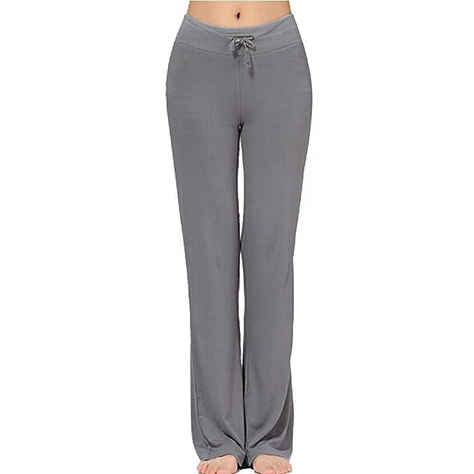 Pantalones Largos Modales Cómodos de Lazo Del Cordón de Las Mujeres Sueltos de la Pierna Recta