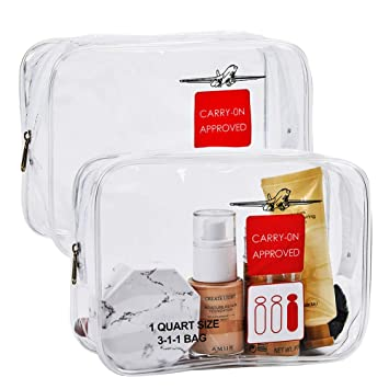 06349e583a2c 2 Pack Clear Toiletry Bag TSA Approved , Travel Carry-On Compliant 3-1-1  Liquids Rules Clear Cosmetic...