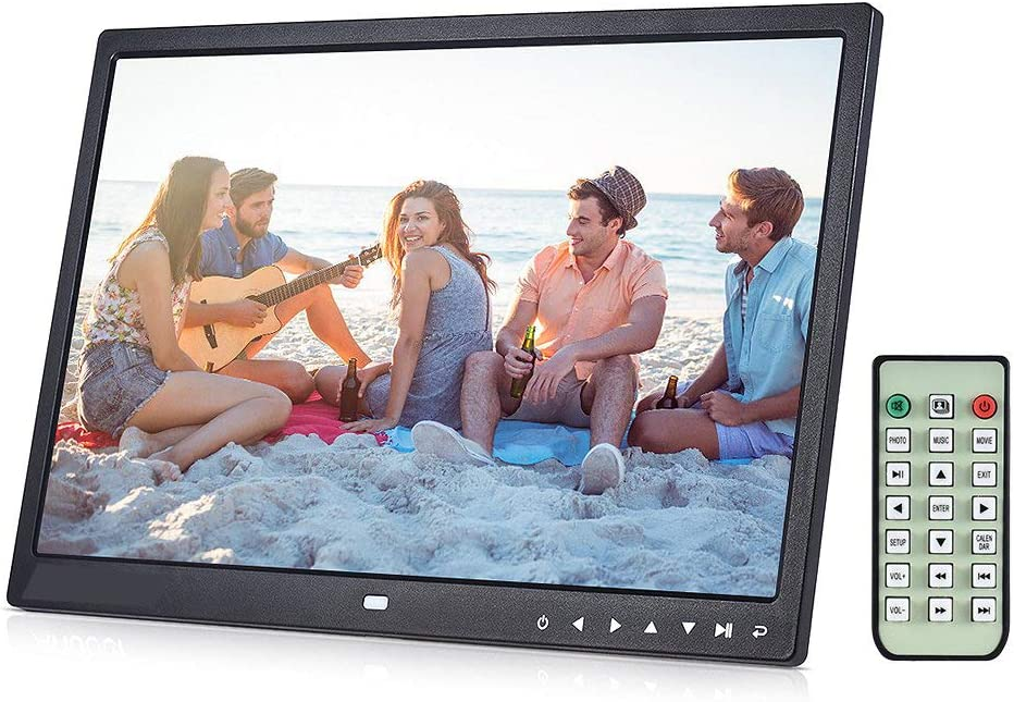 Leoie 15 inch Digital Picture Photo Frame 1280x800 HD Resolution 16:9 Wide Picture Screen Clear and Distinct Display White EU Plug