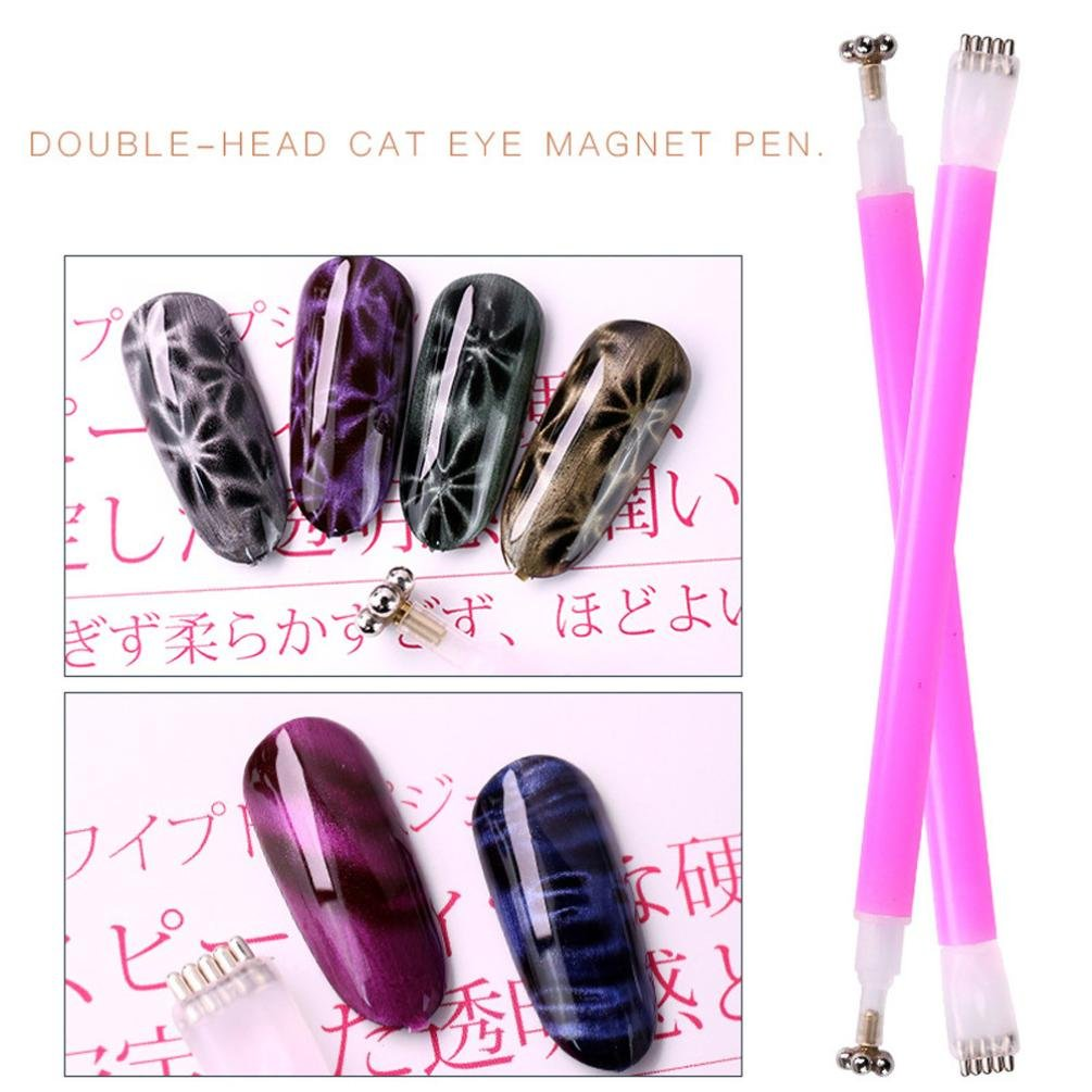 YUYOUG Double Head Magnet Stick Tool For 3D Magnetic Cat Eye Gel Magic Nail Art Manicure One Line Cat Eye Pen Drawing Vertical Stick Nail Tools