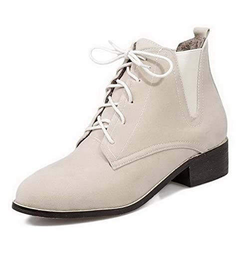 Women's Lace-Up Round Closed Toe Low-Heels Imitated Suede Low-Top Boots