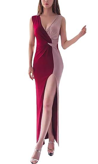 Vestido Mujer Vestido De Fiesta Largo Elegantes Sin Mangas V Cuello Slim Fit Dresses Señoras Moderno Asymmetric Irregular Empalme De Dos Color Moda De Noche ...