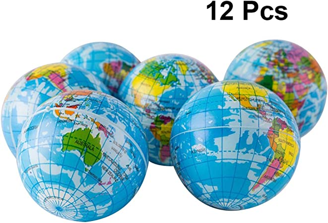 STOBOK 12 Pcs Globe Squeeze /Éponge Boules Terre Carte du Monde Mousse Boule Lente Mont/ée Jouets pour Enfants Adultes-6.3 Cm