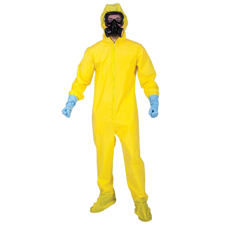 Adults Bio Hazard Hazmat Suit With Mask & Gloves Fancy Dress Halloween  Costume