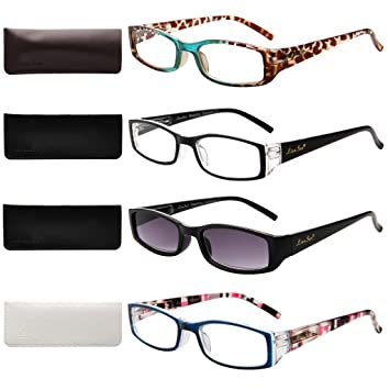 54d746016eb LIANSAN Designer 4 Pairs Womens Light Weight Stylish Spring Hinge Reading  Glasses with Fashion Portable Sun